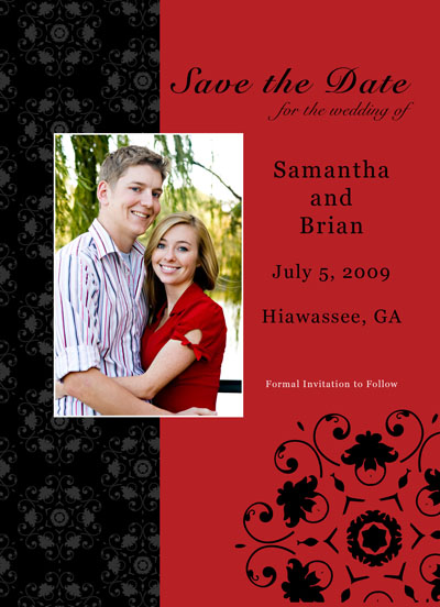 save the date card black and red design