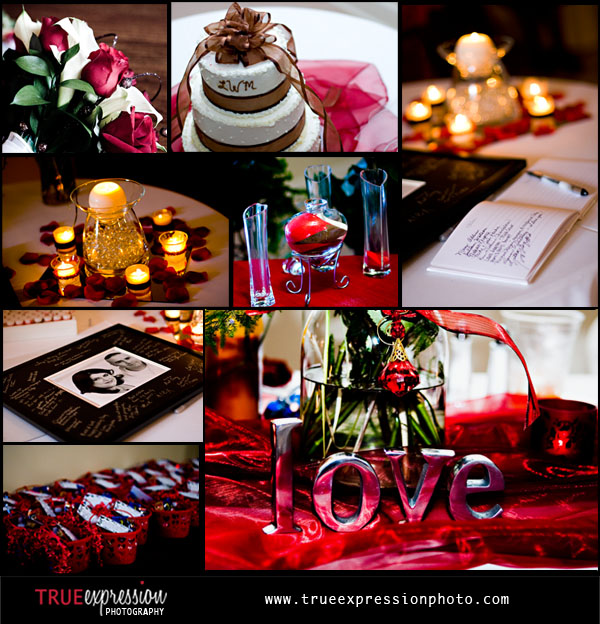 collage of photos of candles, flowers, cake guest book, favors and other wedding details