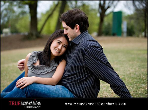 engagement photo in piedmont park