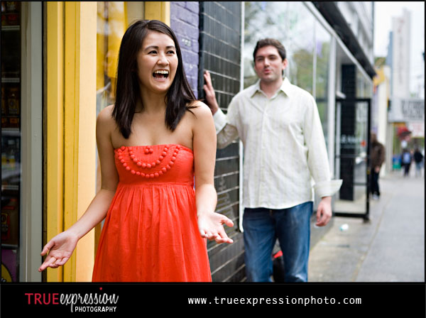 engagement photos with girl laughing