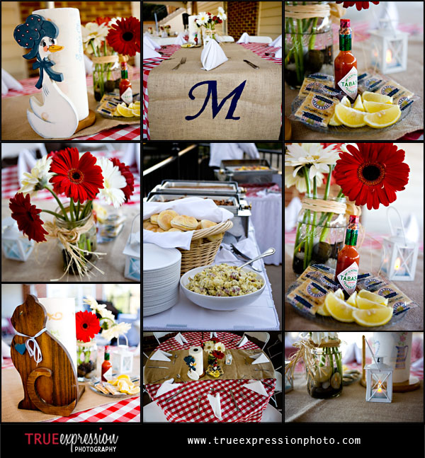 photos of barbecue rehearsal dinner details