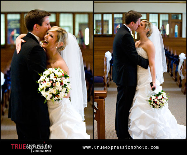 happy bride and groom in Kennesaw United Methodist Church