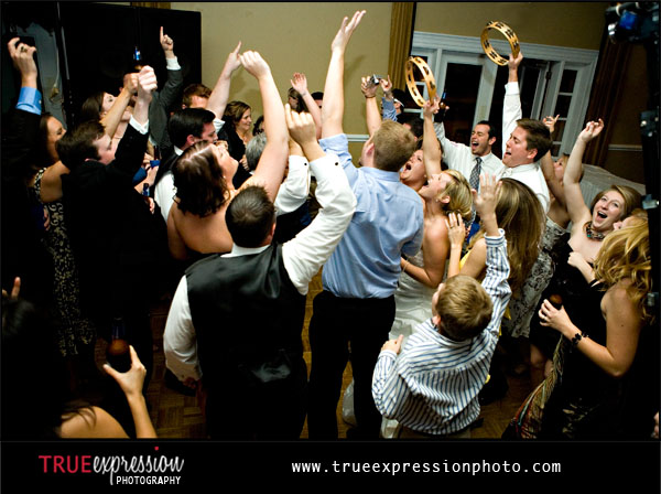 guests partying at wedding reception