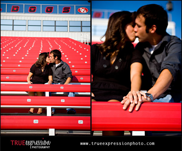 photo of high school sweethearts at their old football stadium for their engagement pictures