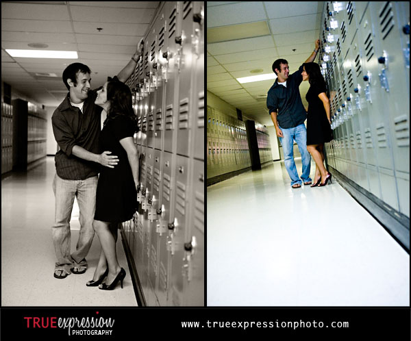 high school sweethearts in front of their lockers