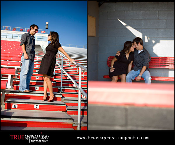 couple at a football field and softball field