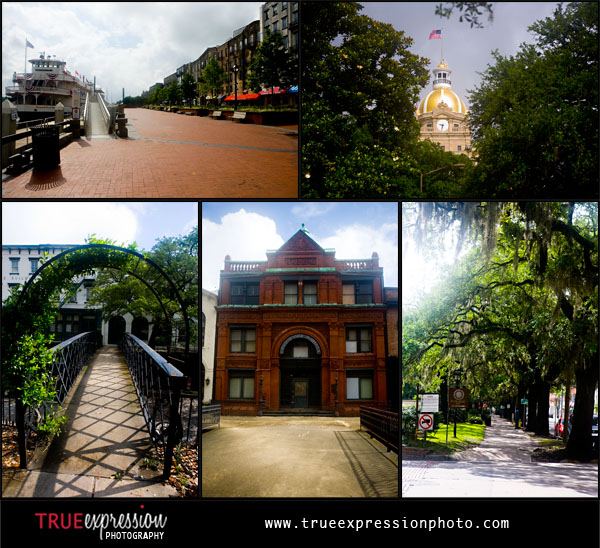 famous sites in Savannah GA including The Savannah Cotton Exchange, River Street and The Savannah Riverboat