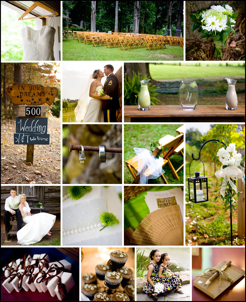 Green and brown details from beautiful outdoor Atlanta weddings