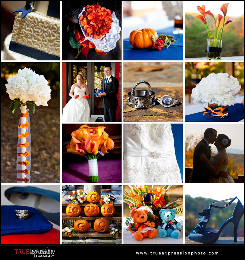 Blue and Orange details from Atlanta weddings
