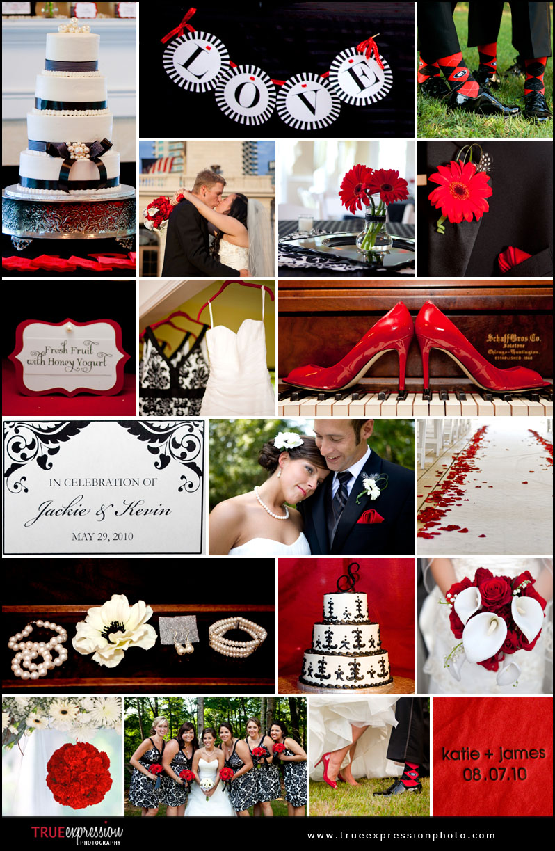 black, white and red details from Atlanta weddings