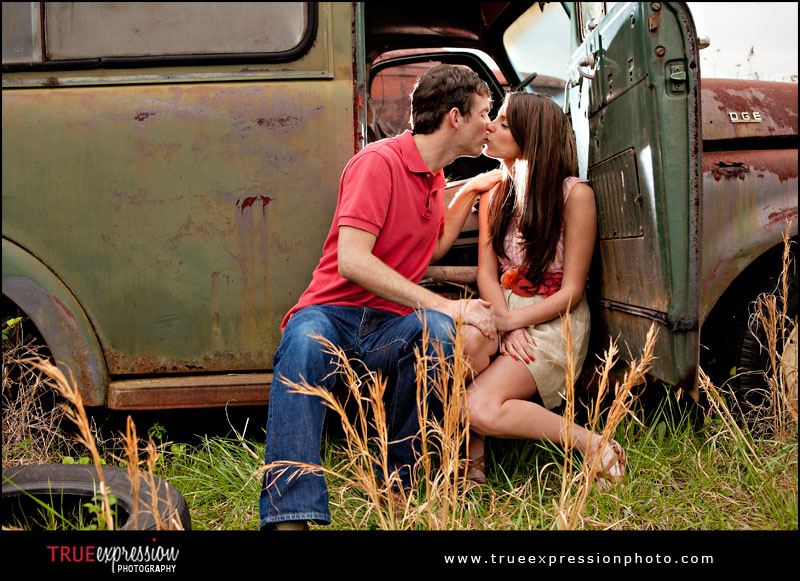 Engagement photo in vintage car