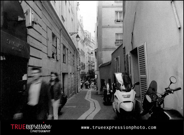 black and white photo of the streets in the Latin Quarter in Paris Fance