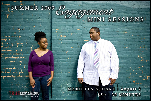 summer engagement photos in Marietta Square by Atlanta wedding photographer True Expression Photography