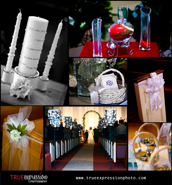 photographs of wedding ceremony decorations including unity candles, flowers and programs
